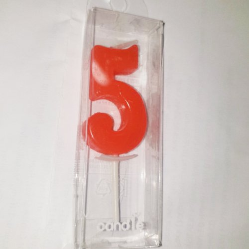 Red Number 5 Birthday Candle
