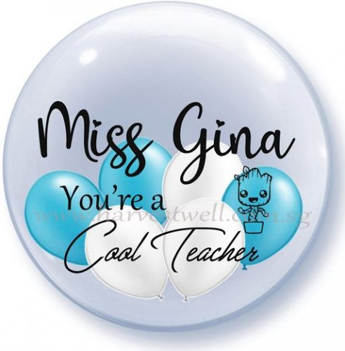 Cool Teacher Print On Bubble Balloon Size: 24""