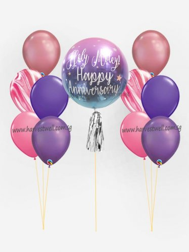 Personalize ORBZ Ombre Red Blue Balloon Bundle Set