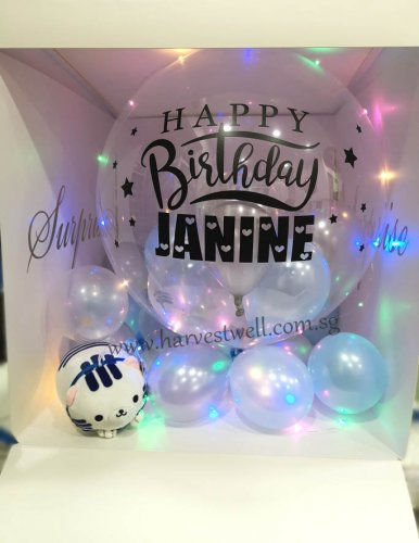 Customize Surprise Gift Box with Birthday Bubble Balloon