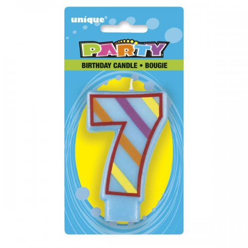 Number 7 Colourful Numeral Candle