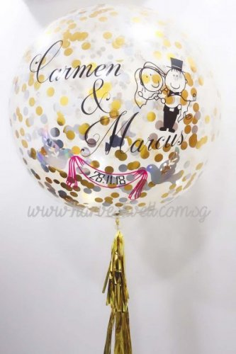 Cute Couple Wedding Confetti Jumbo Helium Latex Balloon