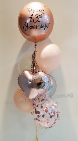 Personalised Rose Gold Orbz Balloon Bouquet