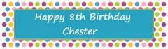 Bright Polka Dots Blue Customized Banner