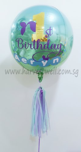 Customised 1st Bday Mermaid Orbz Balloon