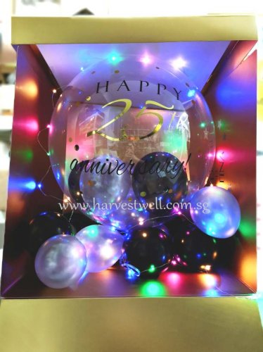 Customize Surprise Box with 25th Anniversary Bubble Balloon