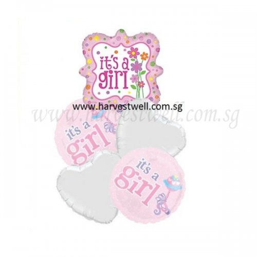 Its a Girl Flowers Balloon Package