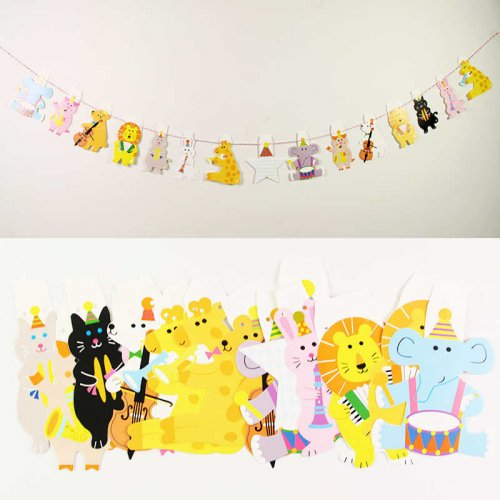 Musical Animal D.I.Y Party Hanging Flag