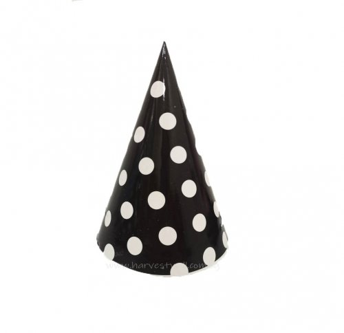 Black with White Dots Party Hat