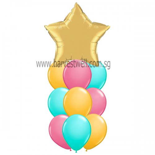 Helium Latex Balloon Column with Foil Balloon on Top