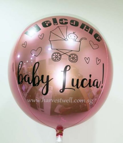 Customize Welcome Baby Light Pink ORBZ Balloon