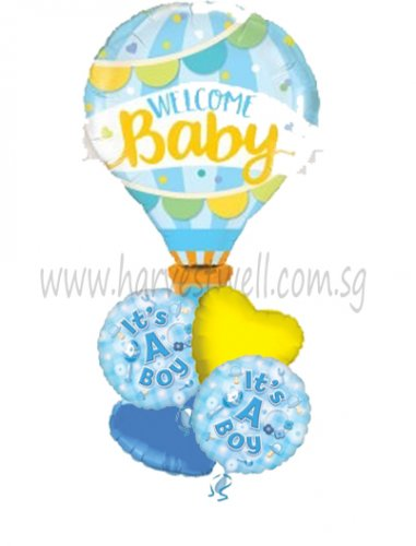Welcome Baby Blue Hot Air Balloon Package