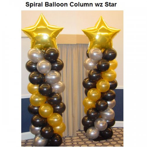 Spiral Balloon Column with Jumbo Star on Top