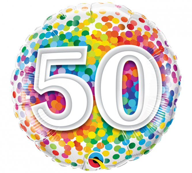 50th Birthday Rainbow Confetti Mylar Balloon