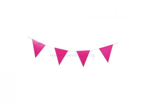 Hot Pink and White Polka Dots Flag Banner