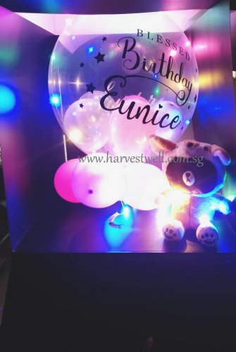 Customize Surprise Box with Blessed Bday Bubble Balloon