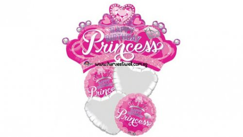 HBD Princess Crown and Gem Balloon Package