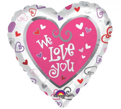 We Love You Heart Shape Mylar Balloon
