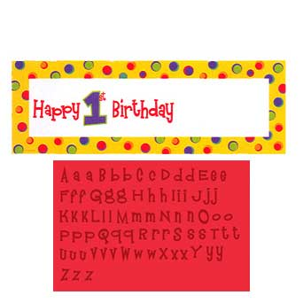 HAPPY 1ST BIRTHDAY CUPCAKE PERSONALIZE GIANT BANNER