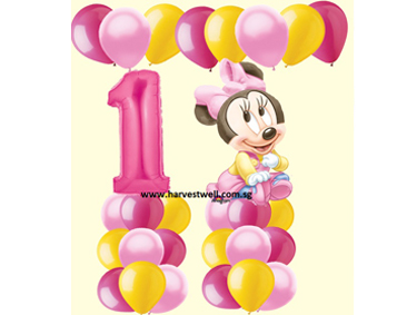 1st Birthday Baby Minnie Balloon Value Package