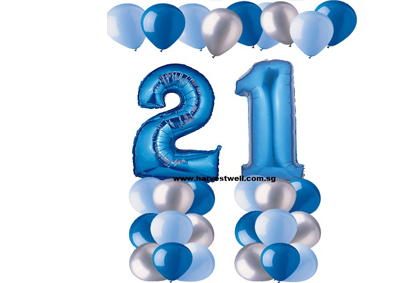 21st Blue Birthday Balloon Value Package