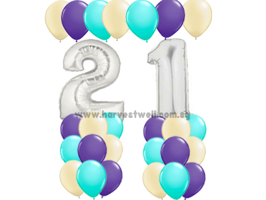 21st Silver Birthday Balloon Value Package