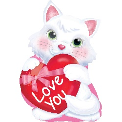 Kitty With Heart Mylar Balloon