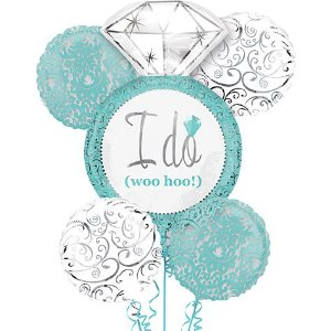 I Do Engagement Diamond Ring (Tiffany Blue) Balloon Bouquet
