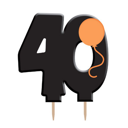 Number 40 Numeral Candle