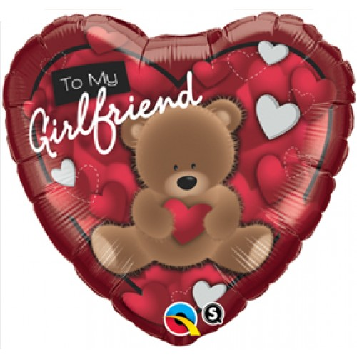 Cute Bear To My Girlfriend Mylar Balloon