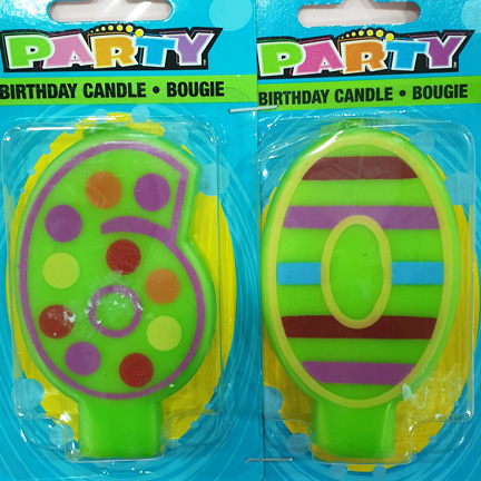 PROMO Number 6 and 0 Colourful Candle Set