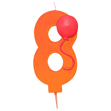 Number 8 Balloon Candle