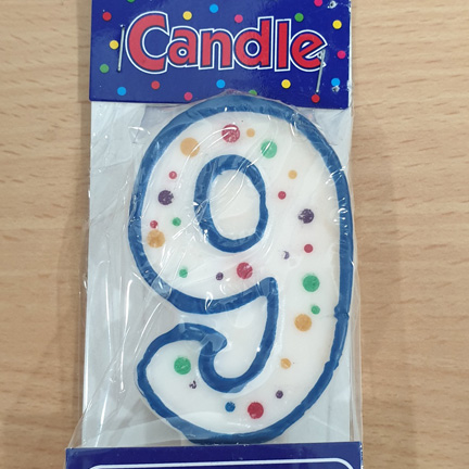Number 9 Dots Blue Border Numeral Candle