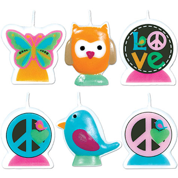 Hippie Chick Birthday Candle Set
