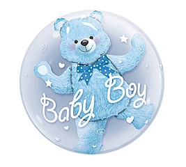 Baby Boy Blue Bear Double Bubbles Balloon