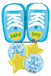 Baby Boy Blue Sneakers Balloon Package