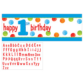 BIG 1 DOTS BOY BIRTHDAY PARTY PERSONALIZE BANNER