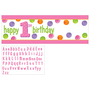 BIG 1 DOTS GIRL BIRTHDAY PARTY PERSONALIZE BANNER