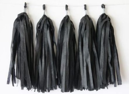 Black Tissue Tassel Garland