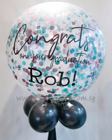Congrats Grad Personalized Jumbo Helium Latex Balloon
