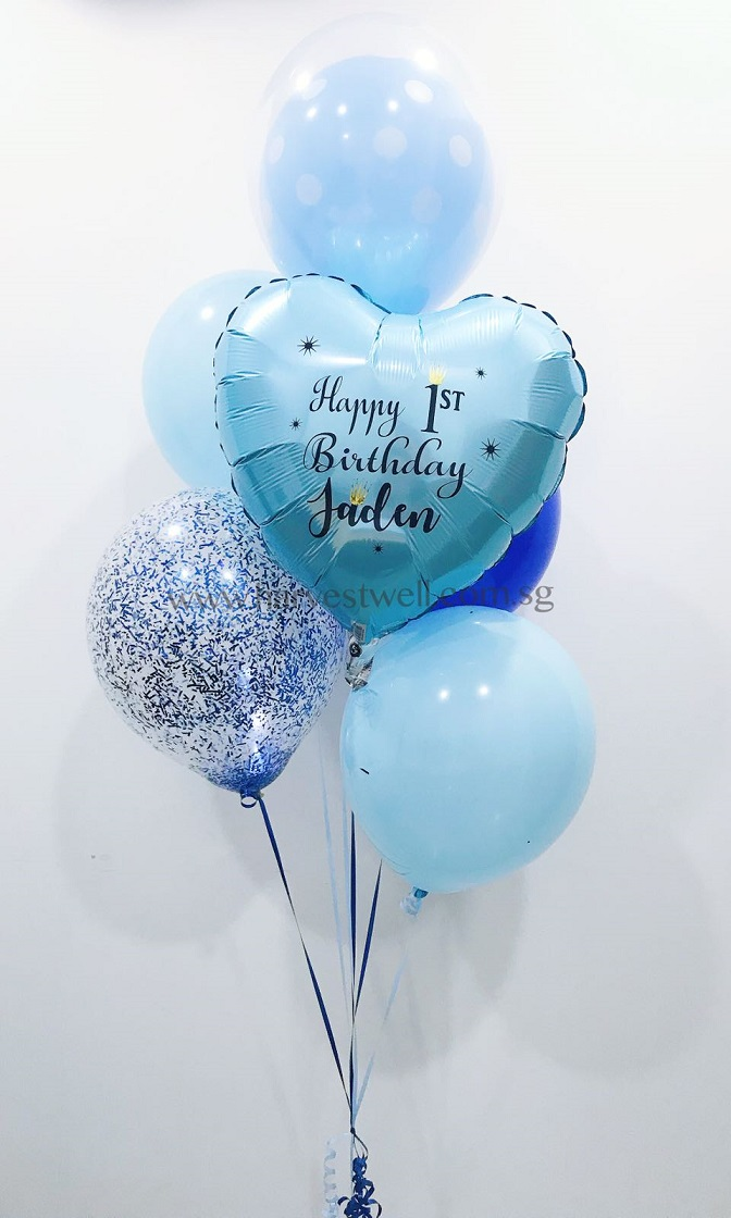 Customize Blue Birthday Balloon Bouquet CBQ 002