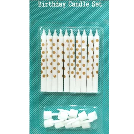 Gold Polka Dots on White Birthday Candles