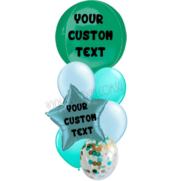 Personalised Green Theme Balloon Bouquet