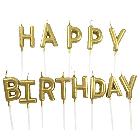 Happy Birthday Gold Letter Pick Candle Set