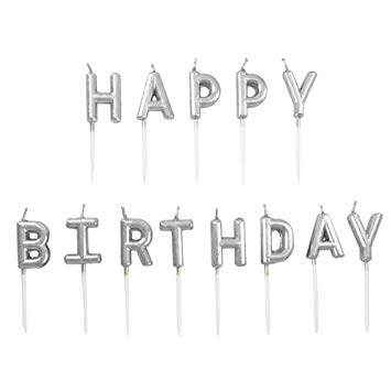 Happy Birthday Silver Letter Pick Candle Set
