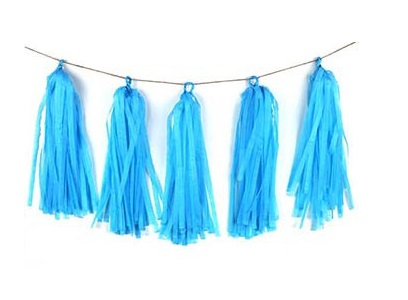 Light Blue Tissue Tassel Garland