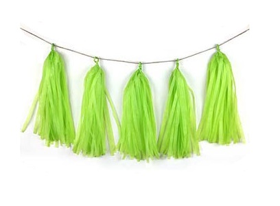Lime Green Tissue Tassel Garland