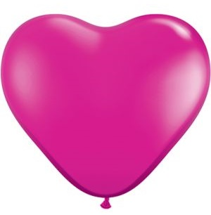 MAGENTA HEART SHAPED Helium Latex Balloon