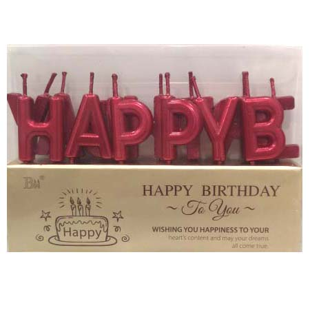 Happy Birthday Metallic Red Letter Pick Candle Set