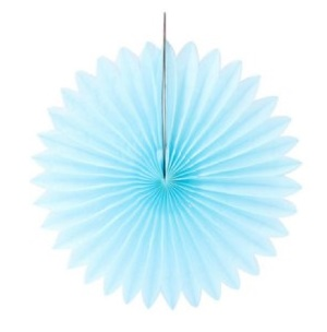 Hanging Paper Fan - Light Blue